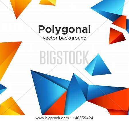 Colorful vector background with vibrant blue-red and yellow color polygonal crystal shapes frame isolated on white background. Premium low poly geometric banner design concept