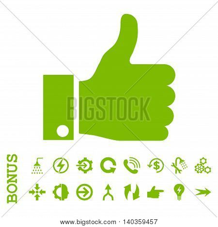 Thumb Up vector icon. Image style is a flat pictogram symbol, eco green color, white background.