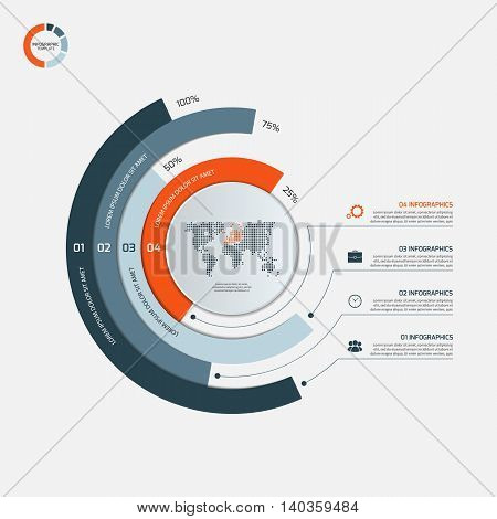 Circle Infographic Template With 4 Options. Business Concept. Vector Illustration.