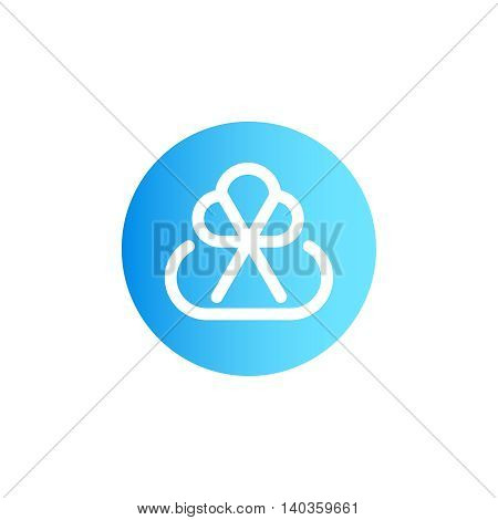 B2B logo vector design concept isolated on white background. Modern corporate identity for business marketing company. Abstract blue color circle web icon with monogram in mono line style