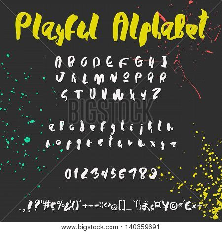 Handwritten trendy vector alphabet set. Playful characters uppercase, lowercase, numerals and punctuations signs. White symbols shapes on black background with colorful paint splashes.