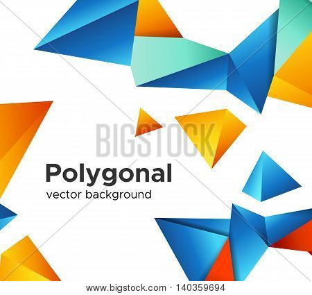 Colorful vector background with vibrant blue-orange and red color polygonal crystal shapes frame isolated on white background. Premium low poly geometric banner design concept