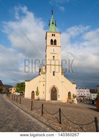 Front view of rural Church of St Margaret in Kasperske Hory, Czech Republic