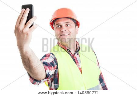 Smiling Handsome Builder Making Self Portrait