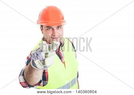 Male Constructor Making Watching You Hand Gesture