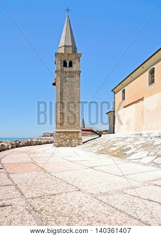 Bell Tower of Church called Madonna del Angelo at Pier of Carle,adriatic Sea,Veneto,Italy