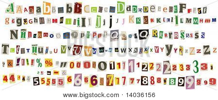 Newspaper alphabet with numbers and symbols, isolated on white