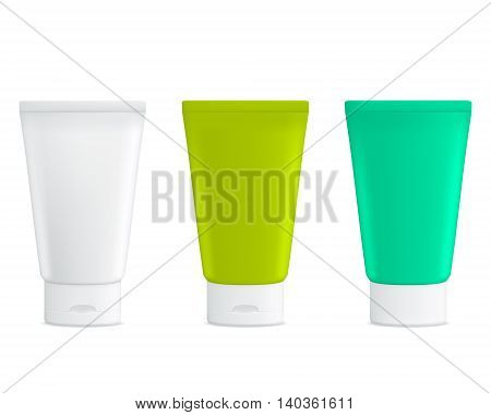 Set of blank white cosmetic tubes, gel or cream. Product packing. Mock up.