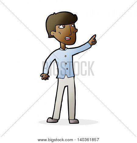 cartoon man pointing the way