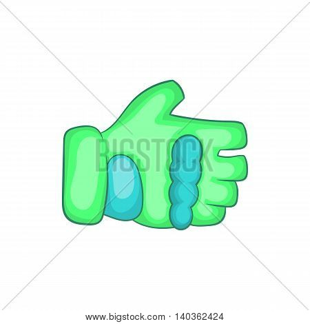 Green paintball glove icon in cartoon style on a white background