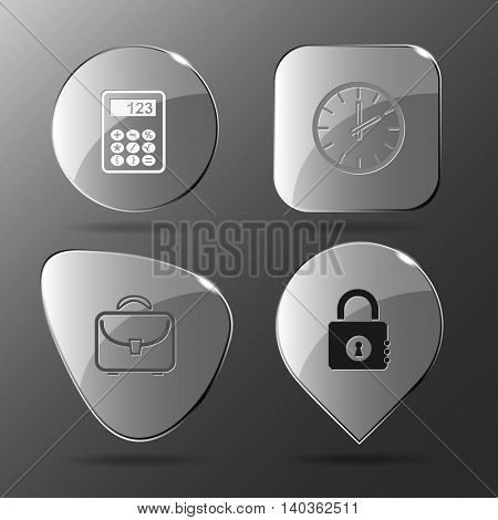 4 images: calculator, clock, briefcase, closed lock. Business set. Glass buttons. Vector illustration icon.
