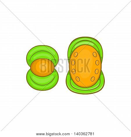 Knee protector and elbow pad icon in cartoon style on a white background