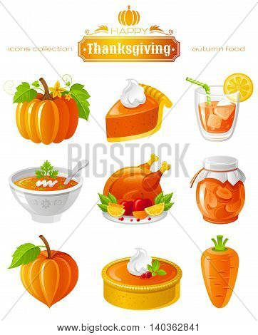 Vector illustration icon set with autumn and thanksgiving food and symbols on black background. Includes pumpkin vegetable, pie slice, orange juice, soup, roast turkey, apricot jam, cake, carrot.