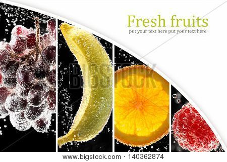 Fruits and berries (photo collage) surrounded by bubbles (collage with copy space)