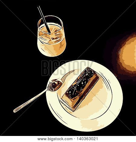 Illustration of ice coffee and desert on plate on black desk