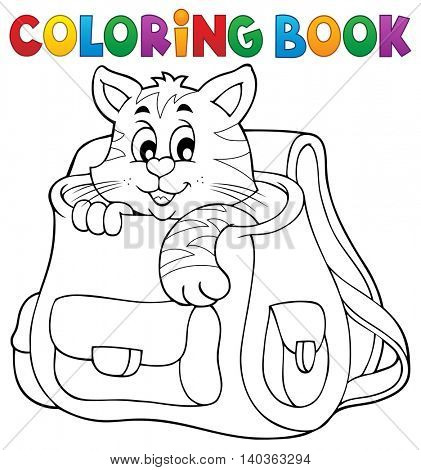 Coloring book cat in schoolbag - eps10 vector illustration.