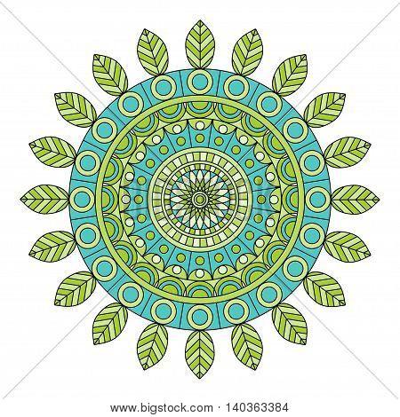 Color floral mandala on white background, vector illustration