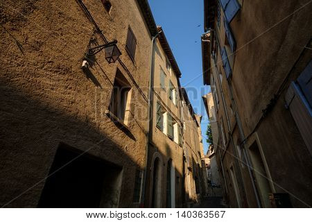Narrow street in old city centre in France