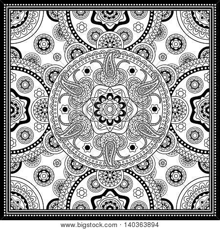 Black and white scarf design. Vector illustration