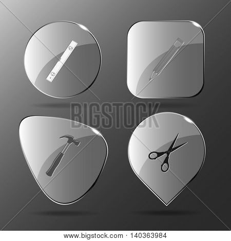 4 images: spirit level, pencil, hammer, scissors. Angularly set. Glass buttons. Vector illustration icon.