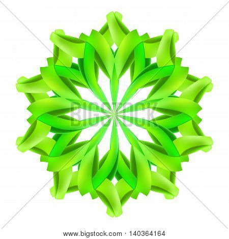 Abstract green design element made of paper or ribbons
