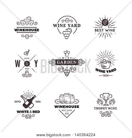 Hipster wine making grape and wine labels, logos, emblems set. Vector illustration