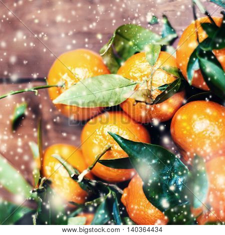Christmas decorations - Merry Christmas Tangerines in with holidays lights and white snow