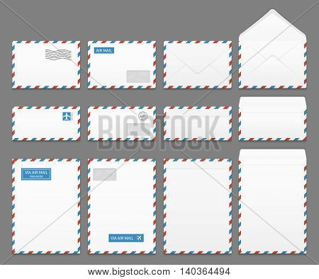 Air mail paper letter envelopes vector set. Blank envelope for airmail, illustration of correspondence envelopes