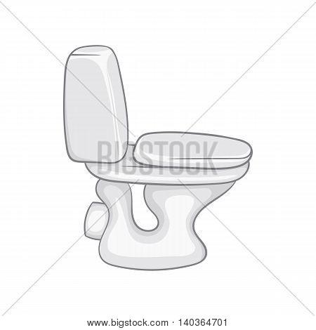 White toilet bowl icon in cartoon style on a white background