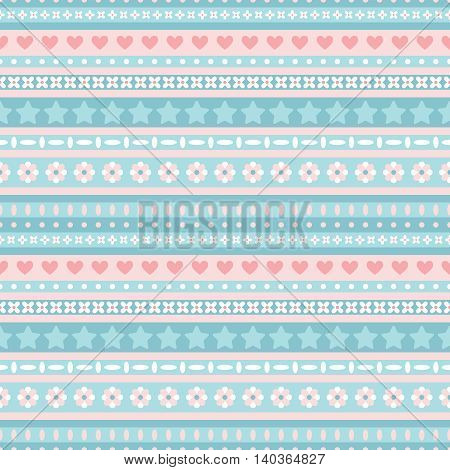 Seamless blue and pink tribal pattern. Vector illustration