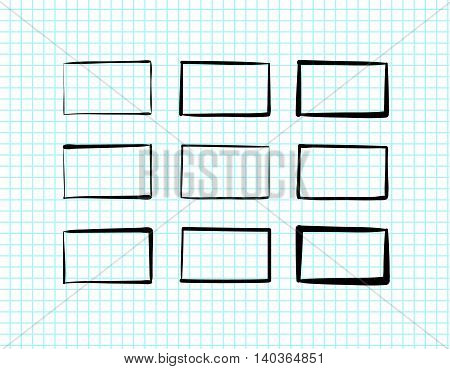 Hand-drawn rectangles and text boxes, scribble web design