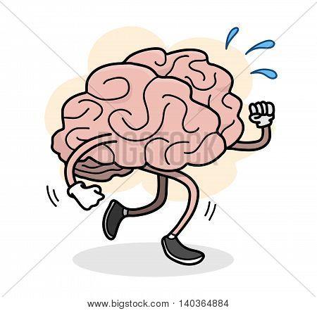 Brain Exercise Vector Illustration. A hand drawn vector cartoon illustration of a brain exercising itself.
