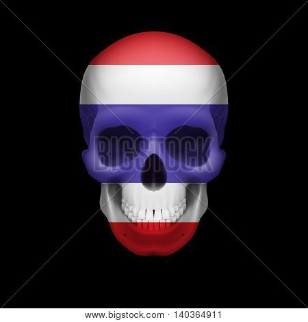 Human skull with flag of Thailand. Threat to national security war or dying out