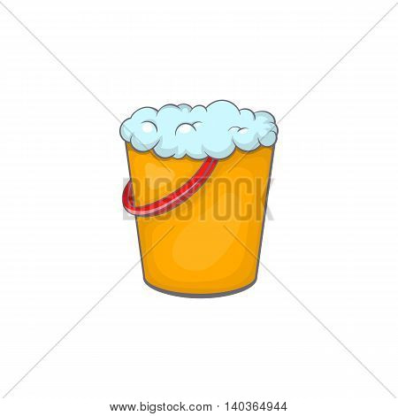 Yellow bucket with foamy water icon in cartoon style on a white background