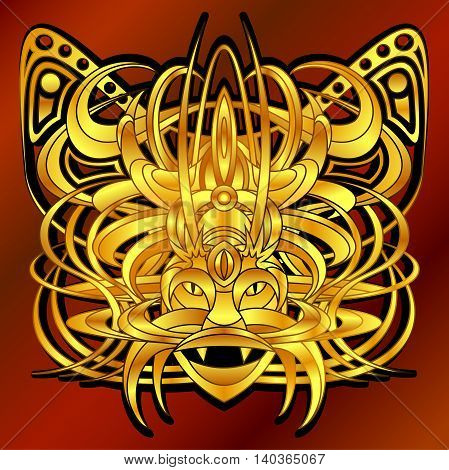 Patterned fantastic creature deity demon or an animal resembling a tiger with a headdress in the form of a butterfly. African indian tattoo design. Isolated vector composition.