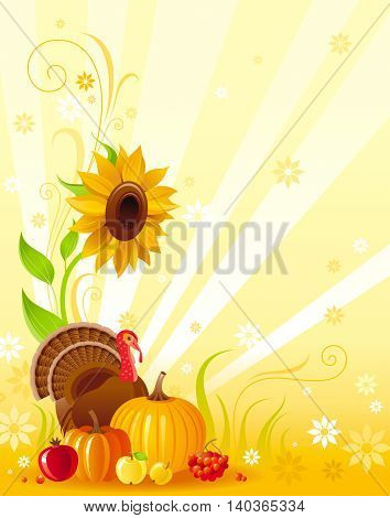 Happy Thanksgiving autumn food vector background with pumpkin icon, turkey, sunflower, vegetable and fruit illustration. Abstract seasonal concept, fall gardening, autumn farming harvest holiday.