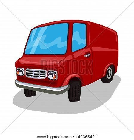 Cartoon Van. Delivery Truck. Red travel bus. Commercial transportation. Fun design. Vector illustration isolated on white background.