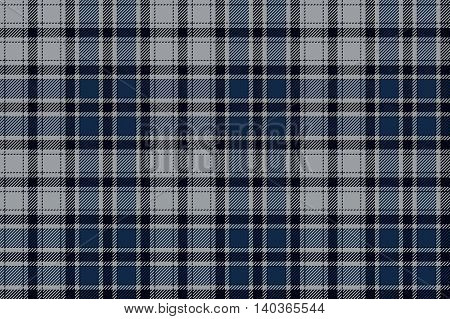 Blue plaid seamless fabric pattern. Vector illustration. EPS10.
