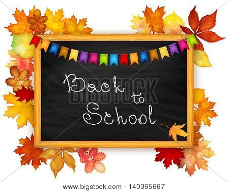Back to school background with blackboard and autumn leaves vector