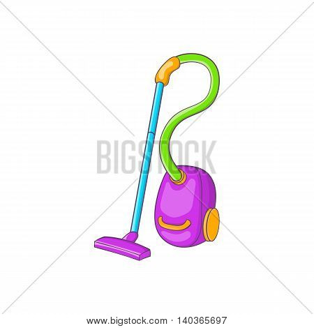 Colorful vacuum cleaner icon in cartoon style on a white background
