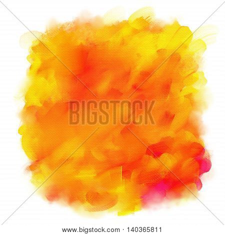 Orange and yellow spot of acrylic paint isolated on a white background.