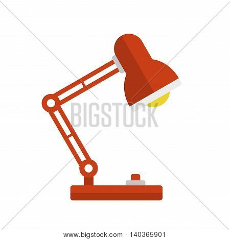 Red Desk Lamp Light Icon. Flat Style. Vector illustration