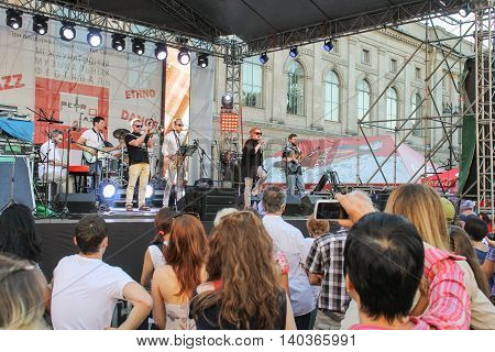 St. Petersburg, Russia - 2 July, Speech jazz group, 2 July, 2016. Annual international festival of jazz and blues in St. Petersburg.