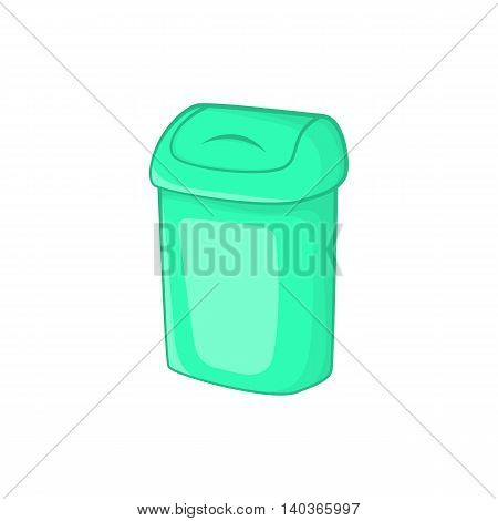 Turquoise trash can icon in cartoon style on a white background