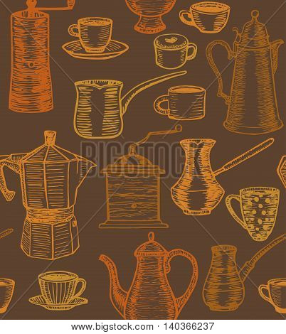 vector hand-drawn dark coffee background with coffee pots cups cesves grinders