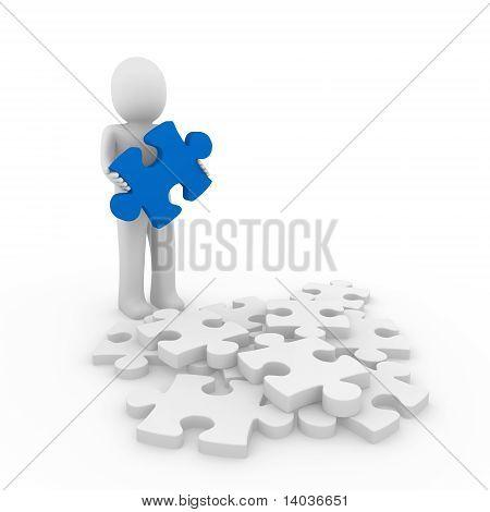 3D Human Blue Puzzle