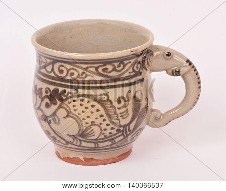 Sangkhalok cup with elephant handle Sukhothai provinceThailand