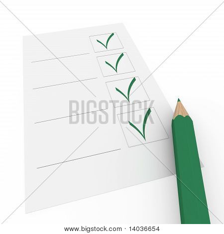 3D Check Box Green Pencil