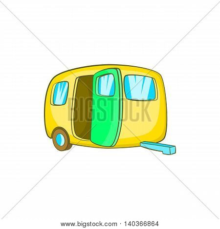 Yelllow camping trailer icon in cartoon style on a white background