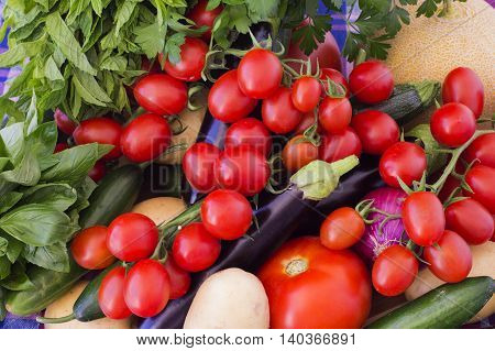 The abundance of summer vegetables on the table